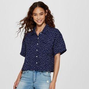 Polka dot shirt sleeve button down crop top